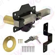 Garden GATE LOCK Driveway Gates Single Long Throw Bolt Security 50mm + Keys