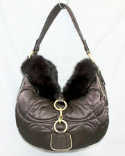 COACH 3587 Ski Brown Quilted Nylon & Rabbit Fur Hobo Shoulder Bag Brass Hdwr