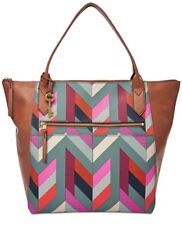 New Fossil Fiona Large Tote bag faux leather tote chevron blue