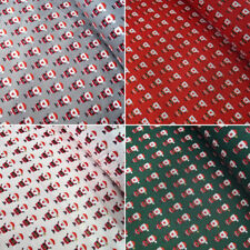 100% Cotton Fabric Lifestyle Christmas Santa Claus In Lines Festive 140cm Wide