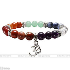 7Chakra Natural Gemstone Beads Sanskrit OM Charm Healing Point Stone Bracelet