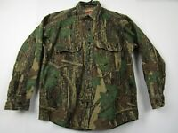 Vintage Mens Winchester Medium Green Camouflage L/S Button Front Hunting Shirt