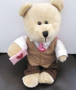 Starbucks  Coffee Co. Bearista Plush Bear- Valentine Boy - pink tie- 2007