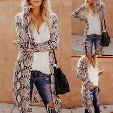 Womens Snake Print Long Cardigan Sexy Long Sleeves V-Neck Coat Long Tops Size S