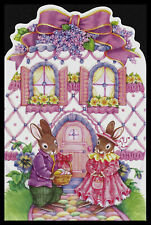 J916-Msa Rabbit Easter Die Cut Glitter Greeting Card New