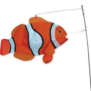 """Swimming Clown Fish Wind Sock Yard Stake Large 23"""""""