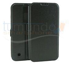 FUNDA SOPORTE de PIEL NEGRA para LG K8 case flip libro