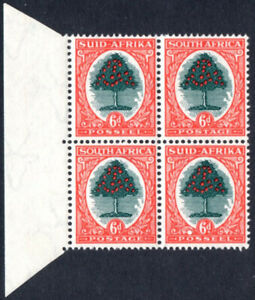 South Africa 1947-54 6d green & red-orange, WHITE SMUDGE ON SOUTH, SG.119, UM
