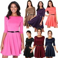 Womens Skater Summer Dress Belt Fit And Flare 3/4 Sleeve Tea Party Cocktail