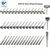 45PCS Wire Wheel Brushes Stainless Steel Die Drinder For Dremel Rotary Tool Set