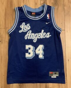 Vintage Nike Los Angeles Lakers Shaquille ONeal Swingman Jersey Youth Small Blue