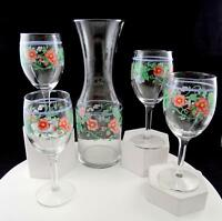 "ART GLASS HAND PAINTED 5 PC FLOWERS & GRAPE VINES 10 3/4"" CARAFE & WINE GLASSES"
