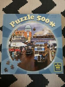King 500 Piece jigsaw Road meets Rail by Malcolm Roots round