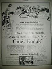 PUBLICITE DE PRESSE KODAK APPAREIL CINEMATOGRAPHIQUE COURSE HIPPIQUE AD 1927