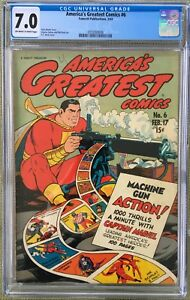 America's Greatest Comics #6 (1943) CGC 7.0 -- War Cover - O/W to White pages