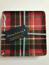 """New listing 6 Tommy Bahama 6"""" Melamine Appetizer / Dessert Plates, Holiday Red & Green Plaid"""