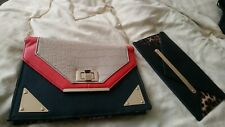 2x bags. Beige, Red, Leopard print Bag Plus small Leopard Bag,both slim,New Look