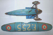 rare jep f255 bleu 1930 moteur ok aeroplane avion en tole old toy