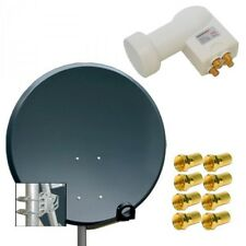 4 Teilnehmer 80cm Alu HD SAT Anlage Schüssel Antenne Spiegel + Digital Quad LNB