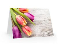 Beautiful Greetings / Thank You Blank Cards Pack of 5 Flower Designs