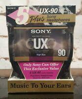 5 Sony UX-90 Type II CrO2 Audio Cassettes Tapes Plus MDR-006L Headphones