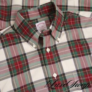 NWT $105 Brooks Brothers Non Iron Cream Red Green Windowpane Tartan Shirt S NR