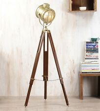 Industrial Brass Nautical Tripod Floor Table Lamp