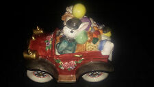 1995 Fitz & Floyd Vintage Rabbit Family Easter Touring Car Cookie Jar candy dish