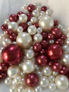 Burgundy Ivory Vase Filler Pearls 80pc Floating Pearl Decor, Table Scatter