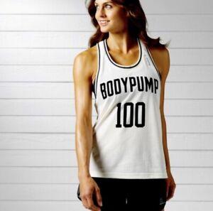 Reebok Les Mills Bodypump 100 White Black Jersey Top Shirt X Small XS