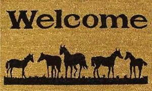 Horses Welcome Doormat Mat Floor Rug Entrance 17 x 29WESTERN Porch Patio New