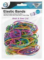 250pk Strong Elastic Rubber Bands Assorted Colours & Sizes Home, School & Office
