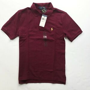 NWT Polo Ralph Lauren Boy Kids Solid Cotton Mesh Polo Shirt Wine Red Size S  M L