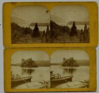 (2) Lake Luzerne NY Adirondacks 1880s Stereoviews / Barnum Photographer