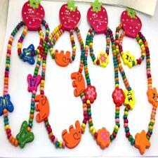 wholesale 20 Sets wood kids children's Necklace pendant wristbands bracelets