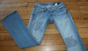 P&Y Denim Jeans pour Femme W 28 - L 32 Taille Fr 38 PAPILLON  (Réf #S240)