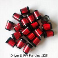 Tip Size .335 Custom Red Golf Wood Ferrules For Driver Fairway Wood FW