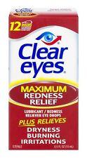 Paquete De 6 ojos claros fuerza máxima Enrojecimiento Alivio colirio 0.5 OZ (approx. 14.17 g) cada