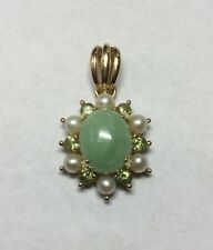 Beautiful 14Kt Yellow Gold Jade Pendant With Pearls And Peridot