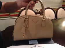 Prada Saffiano Dome Zip-Top Double-Handle Bag, Sabbia (Beige) Satchel BL0852