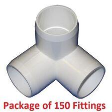 "1"" Furniture Grade 3-Way Corner Elbow PVC Fitting - 150 Pack"