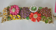 Betsey Johnson Garden Party Multi Flower Wide Toggle Bracelet NWT