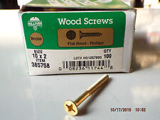 Brass Phillips Head Flat Wood Screws #10 x 2