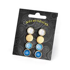Paquete De 4 Aretes postes de color azul Damas Moda Joyería