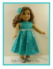 Jade Satin & Lace Party Dress fits American Girl Doll
