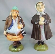 ANTIQUE GERMAN made PORCELAIN , BISQUE  PIVOTING NODDERS -  OLD GYPSY COUPLE
