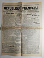 N263 La Une Du Journal la République Française 17 mars 1917 le défaut de la race