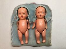 Vintage Bisque Twin Baby Dolls Jointed In Blue Bunting & Caps Japan 2 Dolls. B7