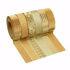 Gold Glitter Washi Tape by Crafty Rolls 6 Different Designs New in Box 10 Meter