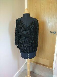 Roman Black Top Blouse Size 14 Drape Cowl Neck Velvet Sparkly 3/4 Sleeves